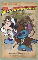 Télécarte NEUVE Japon - DISNEY SEA - 7th Anniversary - MICKEY & STITCH - Japan MINT Phonecard - Disney