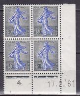 N° 1234A Semeuse  30c Noir Et Outremer (1223) Bloc De 4 Timbres Coins Datés  17.2.61 - 1960-1969