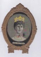 150818 ROYAUTE MONARCHIE NOBLESSE écusson Publicitaire Tissé NOAILLY Lyon - Reine D' Angleterre - Perle Couronne - Familles Royales