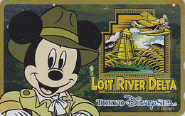 Télécarte NEUVE Métal ARGENT Japon / 110-213164 - DISNEY SEA - MICKEY LOST RIVER DELTA - Japan MINT SILVER Phonecard - Disney