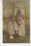 """CHIENS - DOG - Jolie Carte Fantaisie Couple Amoureux Et Chiens """"FIDÉLITÉ """" - Chiens"""