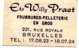 Willy Praet Fourrures Pelleterie En Gros Bruxelles - Matchbox Labels