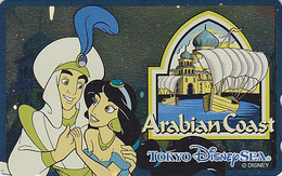 Télécarte NEUVE Métal ARGENT Japon / 110-213169 - DISNEY SEA - ALADDIN ARABIAN COAST - Japan MINT SILVER Phonecard - Disney