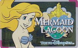Télécarte NEUVE Métal ARGENT Japon / 110-213170 - DISNEY SEA - MERMAID LAGOON SIRENE - Japan MINT SILVER Phonecard - Disney