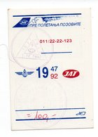 Calendar - JAT, 1992., Yugoslavia - Small : 1991-00