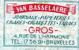 Van Basselaere Journaux Papeteries Cigares Cigarettes Tabacs Bruxelles - Matchbox Labels