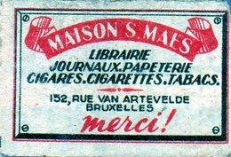 Maison S Maes Librairie Journaux Papeterie Cigares Cigarettes Tabacs Bruxelles - Matchbox Labels