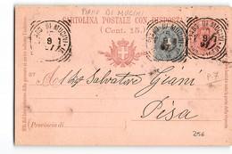 15297 PIANO DI MUCINI X PISA - TONDO RIQUADRATO - 1897 - CARTOLINA POSTALE CENT 7,5 AFFRANCATA CON 5 CENT - 1878-00 Umberto I