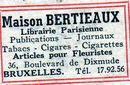 Maison Bertieaux Librairie Parisienne Fleuristes Publication Journaux Papeterie Cigares Cigarettes Tabacs Bruxelles - Matchbox Labels