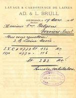 GOE DOLHAIN 1914 Lavage Et Carbonisage De Laines Laine / Ad & L. Brull Vers Poetgens à Verviers - Unclassified