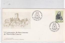 V CENTENARIO DO NASCIMENTO DE MARTINHO LUTERO. FDC. PORTO ALEGRE RS 1983. BRASIL.-BLEUP - FDC