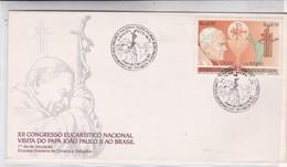 XII CONGRESSO EUCARISTICO NACIONAL VISITA DO PAPA JOAO PAULO II AO BRASIL. FDC 1991 SE TENANT.-BLEUP - FDC
