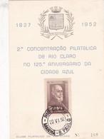 2DA CONCENTRAÇAO FILATELICA DE RIO CLARO NO 125 ANIV DA CIDADE AZUL. MANHA SP 1952. BRASIL.-BLEUP - Brazil