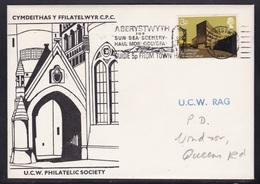 Great Britain: 1972 UCW Philatelic Society (Aber Rag) - Aberystwyth Slogan Postmark & Cachet - Marcophilie