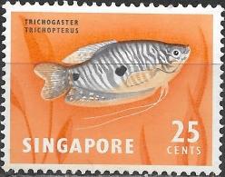 SINGAPORE 1962 Fish - 25c. Three-spotted Gourami MH - Singapour (1959-...)