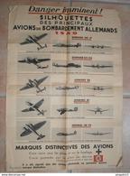 Fixe Affiche Défense Passive Silhouettes Avions Bombardement Allemands Junkers 86 87 Dornier DO 17 DO 215 Heinkel - 1939-45