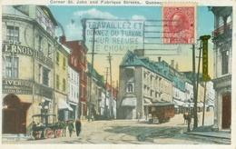 Québec 1922; Corner St. John And Frabrique Streets (Tramway) - Circulated. (Valentine's - Toronto, Winnipeg) - Québec - La Cité