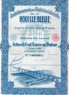SOCIETE INTERNATIONALE POUR L'EXPLOITATION INDUSTRIELLE DE LA HOUILLE BLEU  -ACTION 100 FRS  CAT B -1927 - Electricité & Gaz