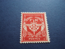 """1946   -timbre Neuf,  N° 12 - F.M.-""""  Rouge       """"    Cote     0.50         Net   0.15 - Franchise Militaire (timbres)"""