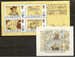 1992 Guernsey, Islanda Iceland EUROPA CEPT EUROPE 2 Foglietti MNH** 2 Souv. Sheets - Europa-CEPT