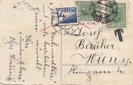 1930 Jugoslawien - 6 Fach Frankierung + 14 Gro Ö-Nachporto Auf Glückwunschkarte - 1919-1929 Königreich Der Serben, Kroaten & Slowenen