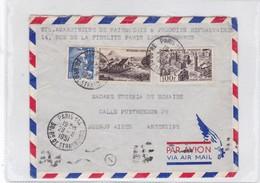 AIRMAIL CIRCULEE PARIS TO ARGENTINE.BANDELETA PARLANTE CIRCA 1951-BLEUP - Airmail