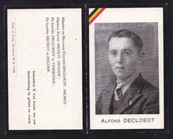 DOODSBEELDJE * ALFONS DECLOEDT - MICHOT * ( Wenduine )  GEVANGENE Door Duitsers Gemarteld TE DRIJBERGEN BUTZOW Mei  1945 - Images Religieuses