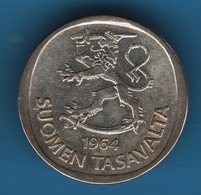 SUOMEN 1 MARKKA 1964 KM# 49 Argent SILVER  350‰ - Finland