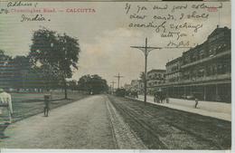 CALCUTTA - CHOWRINGHEE  ROAD - WHITE / BLACK POSTCARD, TRAVELED 1901, FOR ITALY, SIENA, TONDORIQUADRATO STAMP, ANIMATED, - India