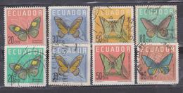 ECUADOR 1961 BUTTERFLIES 2 SETS & 8 VALUES CANCELLED SC# 680-683 711-713 - Ecuador