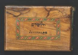 JUDAICA. Ancien Reliquaire Herbier Fleurs De Jérusalem. Relié Avec Couverture En Bois D'olivier. 12 Planches. Complet. - Religion & Esotérisme