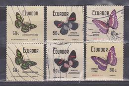 ECUADOR 1969 BUTTERFLIES COLOR VARIETY LIGHT INTENSE 50-60-80 CENTS CANCELLED SC# 801-803 - Ecuador