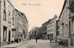 Aubel - Rue De La Station (animée, Charcuterie Horloger 1908 Ed. Th. Jonckers) Et Aujourd'hui... - Aubel