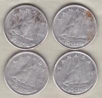 Canada 4 Pièces De 10 Cents En Argent, Elizabeth II - Canada