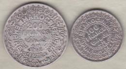 MAROC , 100 Francs Et 200 Francs AH 1372 (1953) .MOHAMMED V, En Argent - Morocco