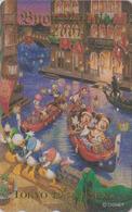 Télécarte DOREE Japon / MF-1000367 - DISNEY SEA - VENISE Gondoles Mickey Minnie Donald - Japan GOLD Phonecard - Disney