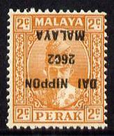 Malaya 1942-44, Japanese Occupation Of Perak, 2c Orange With Overprint Inverted Mounted Mint, - Groot-Brittannië (oude Kolonies En Protectoraten)