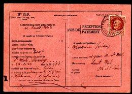 Type Pétain Sur Avis De Payement De St Malo Rocabey 1944 (recto - Verso) - Postmark Collection (Covers)