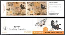 Korea North 1997 Paintings - Butterflies  Mi.3895-97 - Booklet - MNH (**) - Butterflies