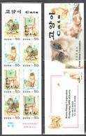 Korea North 2000 Cats - Butterflies  Mi.4266-68 - Booklet - MNH (**) - Butterflies