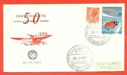 AVIAZIONE-AEREI -NAPOLI - ANNIVERSARIO 1° VOLO NAPOLI PALERMO NAPOLI - MARCOFILIA - - Airplanes