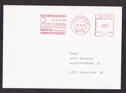 Germany: Cover, 1988, Meter Cancel, Europe Festival During European Union Summit, EU (traces Of Use) - Brieven En Documenten
