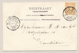 Nederland - 1899 - 3 Cent Hangend Haar Op Ansicht Van Den Haag Naar Amsterdam - Hare Majesteit Op Balkon Paleis Den Haag - Period 1891-1948 (Wilhelmina)