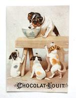 CHROMO    CHOCOLAT LOUIT  4 PETITS CHIENS - Trade Cards