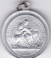 S FRANCISCUS SERAPHICUS PAX ET BONUM MEDALLA CIRCA 1900s SIZE 2.5cm DIAM WEIGHT 2grs-BLEUP - Badges
