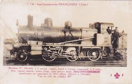 Cpa-train-locomotives Francaises-machine  N° 130 604 A 3 Essieux Couplés-compound- Edi Fleury N° C 136 - Trains
