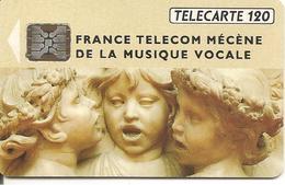 CARTE-120U -F292Aa.520-SC5-Sans Trou-10/92-MUSIQUE VOCAL-R°Brillant-V° N°5 Ge 00178-2 Zéro ENVERS-UTILISE-TBE- - France