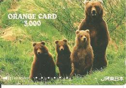 CARTE-MAGNETIQUE JAPON-FAMILLE-OURS BRUN-TBE - Phonecards