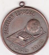"""PABELLON ESPACIAL 1966 FORD """"Y PENSAR QUE TODO COMENZO CONMIGO"""" MEDALLA SIZE 3cm DIAM WEIGHT 12grs-BLEUP - Space"""
