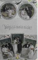 AK 0007  Vergissm Mein Nicht - Liebespaar / Silber-Prägekarte Um 1918 - Paare